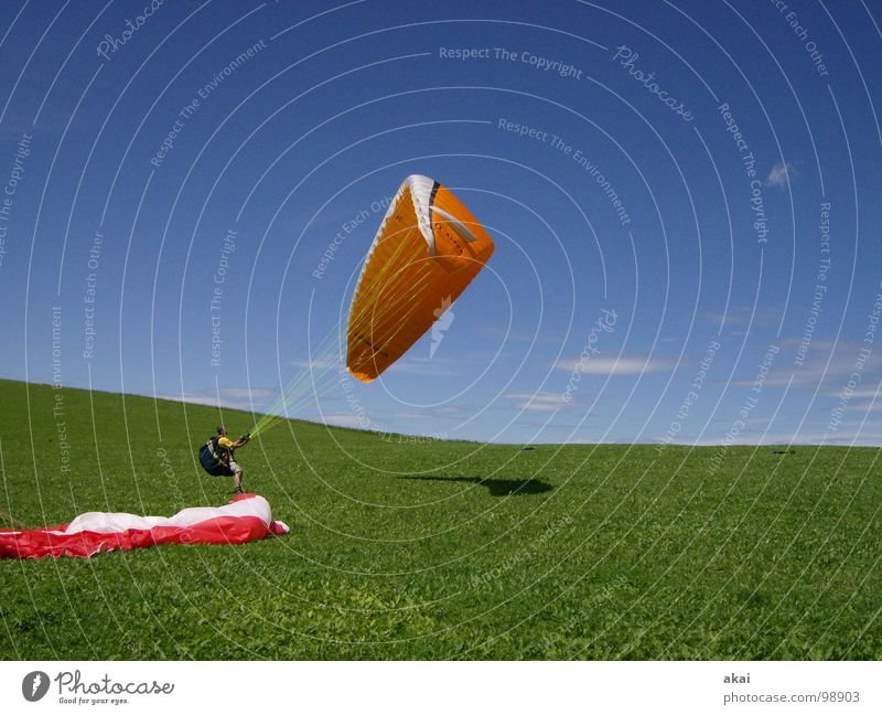 Joy Vacation & Travel Colour Sports Emotions Orange Beginning Romance Leisure and hobbies Planet Paragliding Departure Painted Sky blue Paraglider