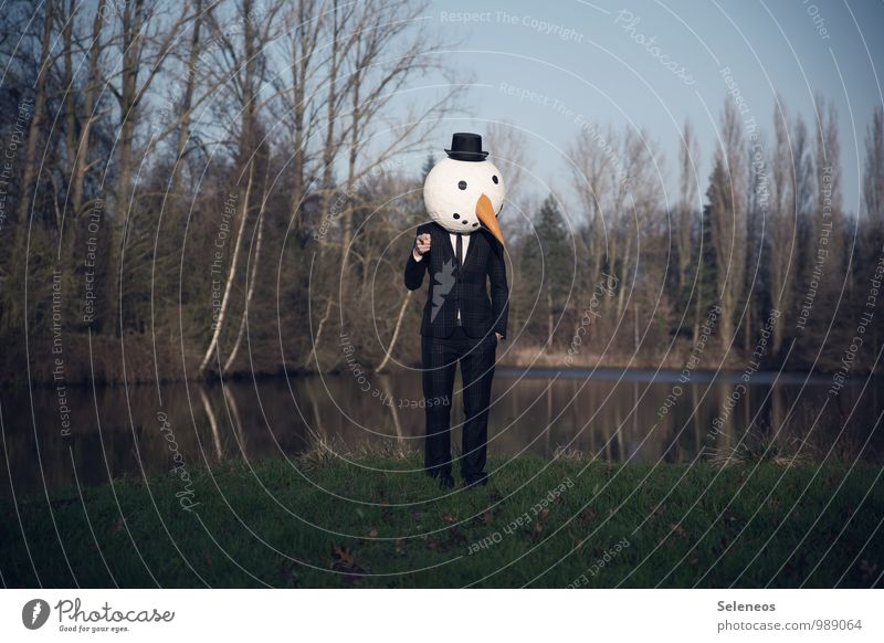 Human being Nature Water Tree Landscape Winter Cold Environment Coast Lake Cloudless sky Hat Carnival Suit Pond Carnival costume