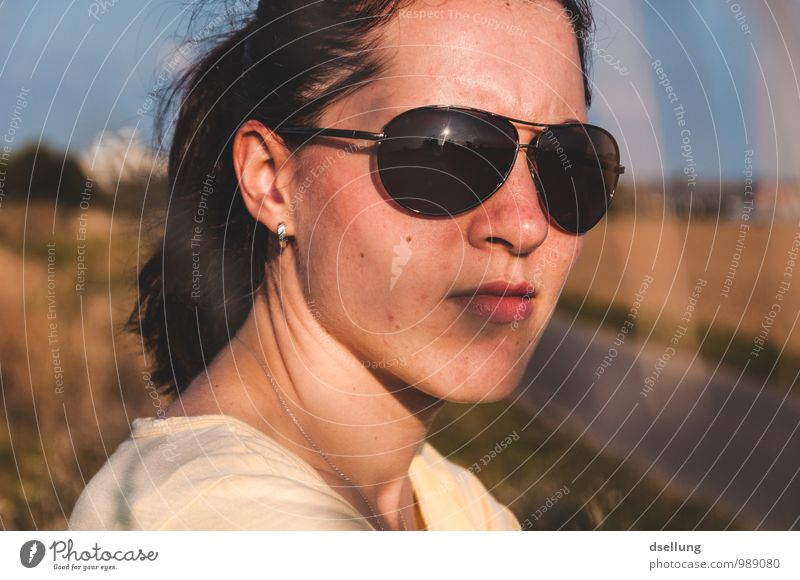 summertime. Human being Feminine Young woman Youth (Young adults) Head Face 1 18 - 30 years Adults Sunrise Sunset Summer Beautiful weather Earring Sunglasses