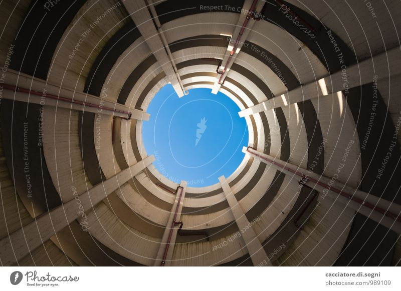 multi-storey car park Cloudless sky Parking garage Wall (barrier) Wall (building) Downspout Downpipe Traffic infrastructure Line Spiral Point Infinity Tall