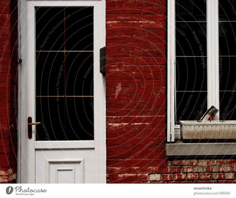 Red / White Entrance Window Facade Broken Derelict France Living or residing Door red bricks orphaned flowerpot Loneliness