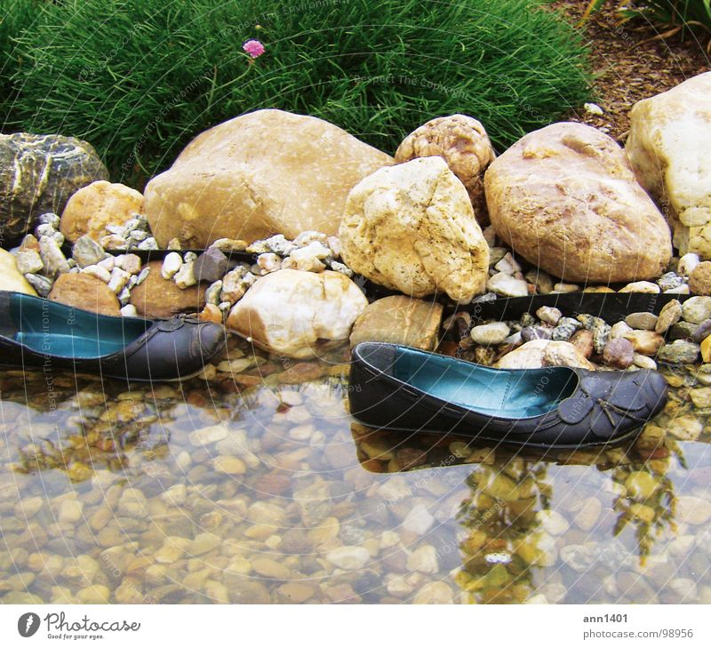 mini-boats dock Footwear Watercraft Brook Reflection Bushes Float in the water Drop anchor Summer Refrigeration Flower Pond Beach Drown River Rock Stone Landing