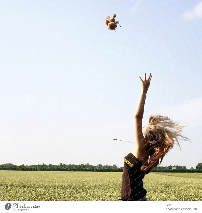 Are you catching me? Teddy bear Target Success Cornfield Field Wheat Clouds Joie de vivre (Vitality) Girl Summer Style Youth (Young adults) Joy Flying Aviation