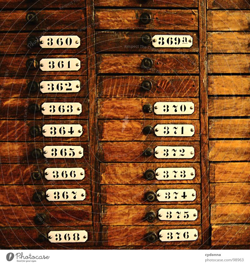 360 - 376 Shelves Historic Digits and numbers Colour Guide Arrange Brown Wood Cupboard Divide Selection Possible Write Craft (trade) Signs and labeling