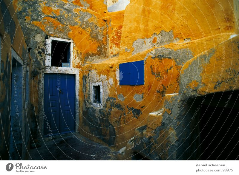 not around the corner from me Wall (barrier) Facade Plaster Derelict Multicoloured Time Blue Yellow House (Residential Structure) Greece South Vacation & Travel