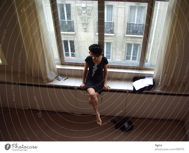 morning in paris Woman Window Boredom Loneliness Beautiful Gray Paris Town Black Bird's-eye view Grief Distress Emotions sacrilegiously Morning Sit Above