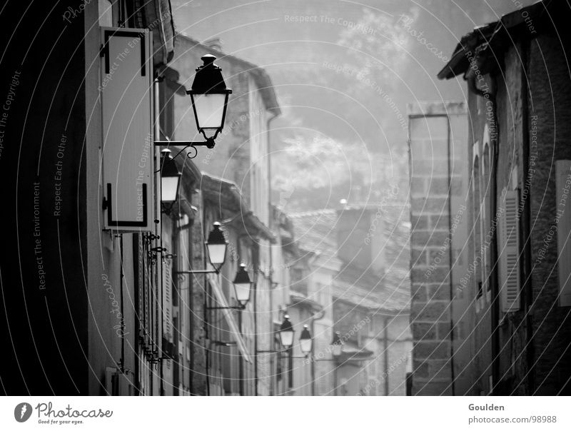 Old City Vacation & Travel Calm Street Lamp Dark Lighting Fog Electricity Black & white photo Lantern France Traffic infrastructure Gas Alley