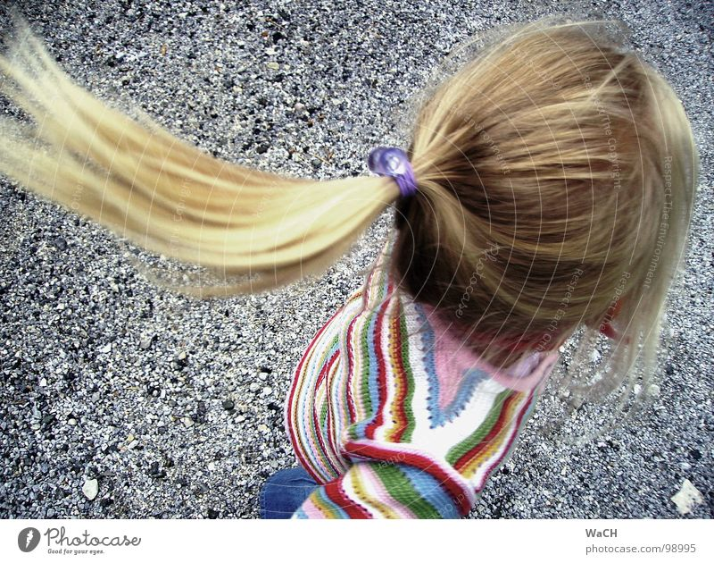 Child Girl Joy Playing Hair and hairstyles Head Blonde Flying Catch Rotate Toddler Braids Turnaround Children's game Ponytail