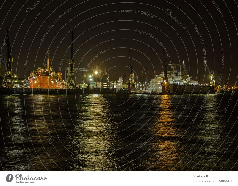 port at night Economy Logistics Water Night sky Port City Deserted Harbour Transport Navigation Passenger ship Cruise liner Container ship Work and employment