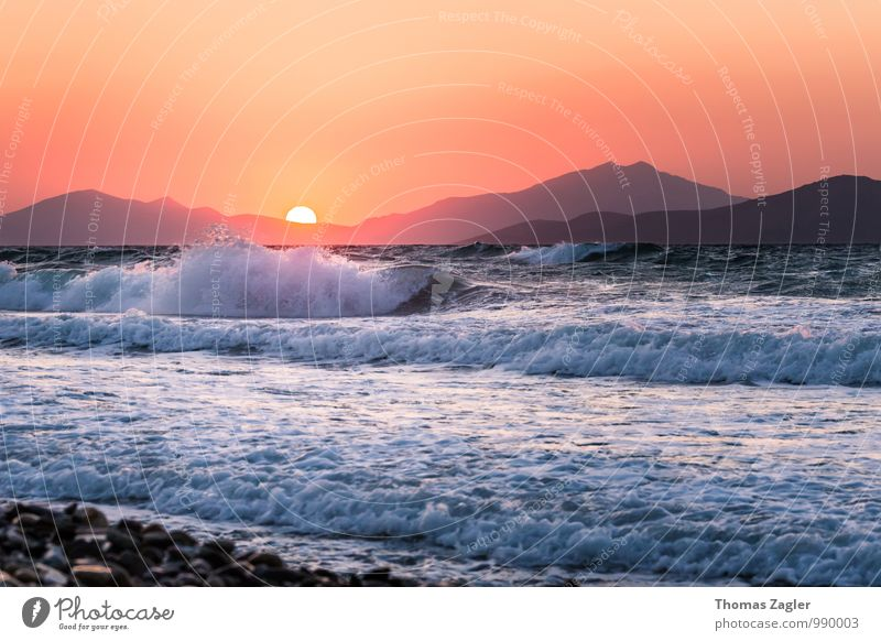 Sunset on Kos Vacation & Travel Freedom Summer Summer vacation Beach Ocean Island Waves Renewable energy Hydroelectric  power plant Landscape Water