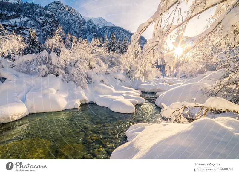 Winter in the Italian Alps II Snow Winter vacation Mountain Hiking Nature Landscape Water Sunrise Sunset Beautiful weather Tree Brook River South Tyrol Italy