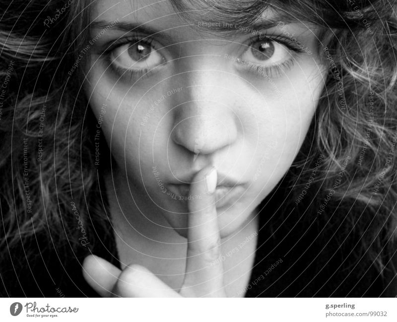 pssscht... Calm Portrait photograph Woman Girl Trust shush Looking Face Black & white photo