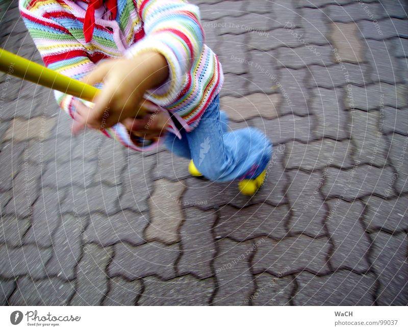 Child Joy Playing Jump Dance Leisure and hobbies Walking Catch Cobblestones Dynamics Stick Seam Paving stone Rod Children's game