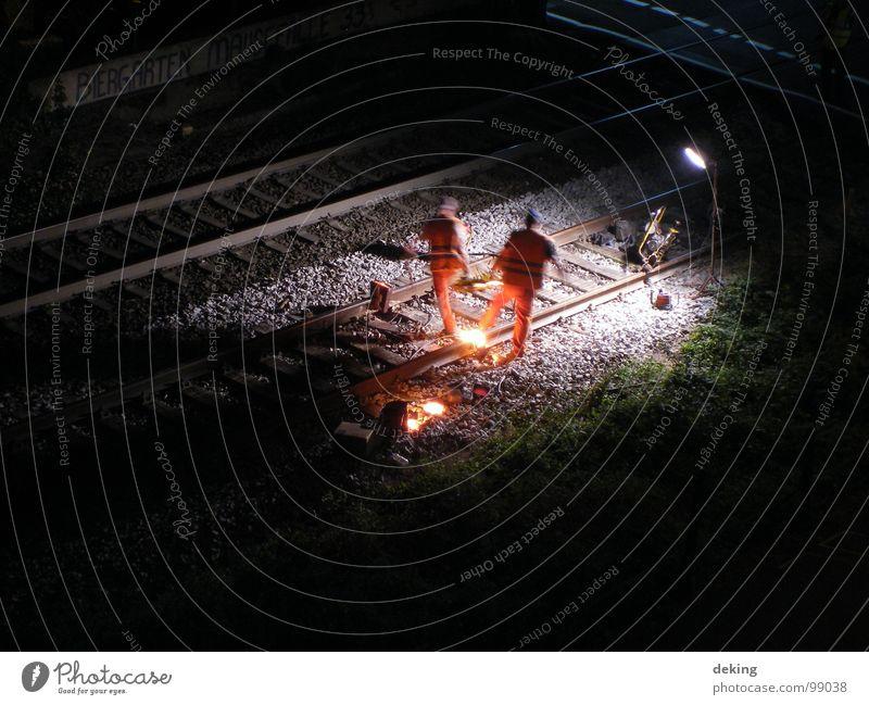 Dark Railroad Industry Railroad tracks Iron Construction worker Working man Welding