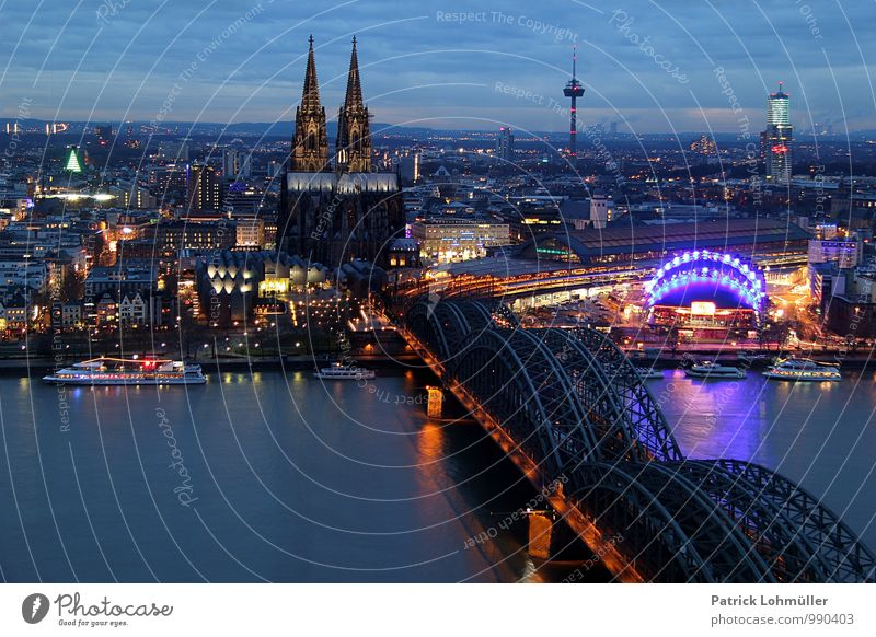 View of Cologne Tourism City trip Architecture Germany Europe Town Downtown House (Residential Structure) Church Dome Bridge Tourist Attraction Landmark