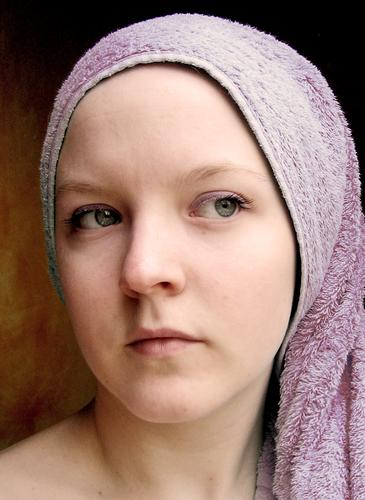 purple purple Face Girl Woman Adults Eyes Nose Mouth Violet Towel Near and Middle East faces towels Portrait photograph Looking