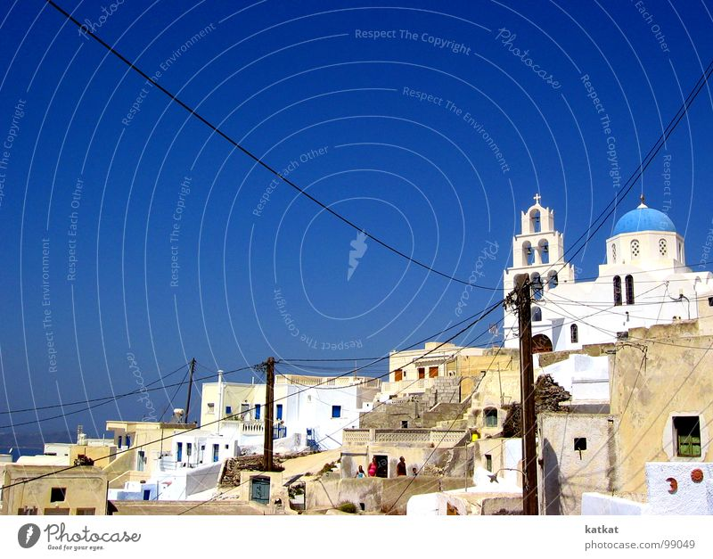Pyrgos on Santorini White Greece Electricity Vacation & Travel Village Europe Art Arts and crafts  Summer Blue Sky pyrgos Trip Americas