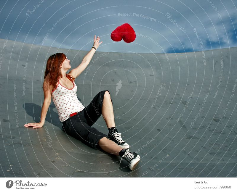 Woman Sky Blue Red Joy Love Clouds Far-off places Happy Gray Footwear Heart Flying Decoration Longing Catch