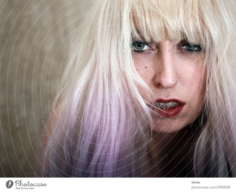 . Face Lipstick Feminine Young woman Youth (Young adults) 1 Human being Wall (barrier) Wall (building) Piercing Blonde Long-haired Bangs Observe Communicate