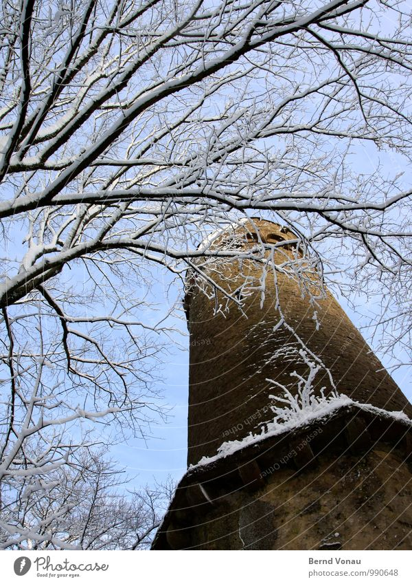 Floor upstairs. Winter Snow Sky Weather Tree Castle Tower Old Tall Blue White Frost Masonry To go for a walk Sharp-edged Wood Stone Building stone Forest Branch