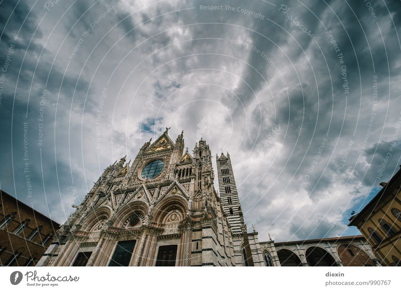 Cattedrale di Santa Maria Assunta Vacation & Travel Tourism Sightseeing City trip Sky Clouds Siena Italy Town Downtown Old town Deserted Church Dome