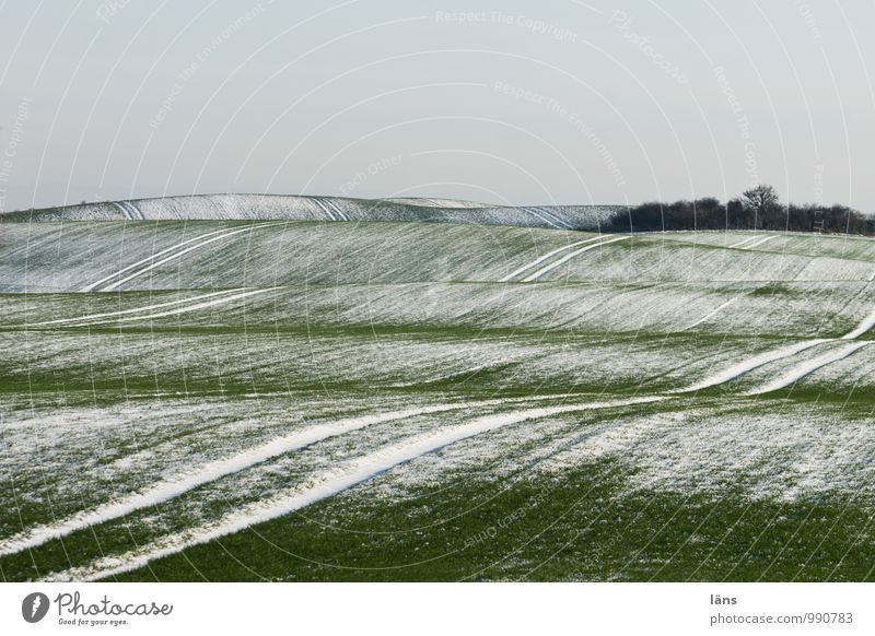 lined landscape Winter Snow Landscape Sky Ice Frost Field Hill Cold Green Beginning Uniqueness Expectation Planning Tracks Line Lined Pattern