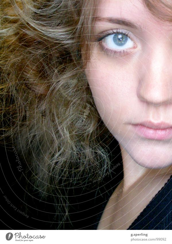piece I Portrait photograph Half Woman Girl Fragment Youth (Young adults) Face Looking Eyes Part