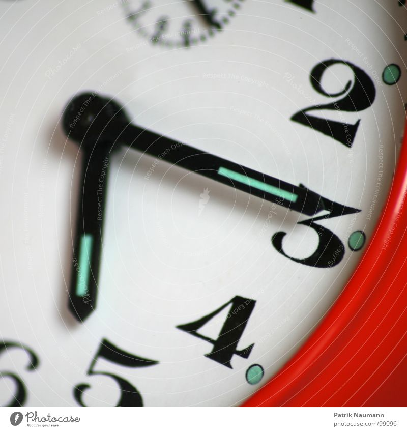 Red 2 Time Clock 3 Future Digits and numbers 4 Past Present Day Advancement Alarm clock Clock hand