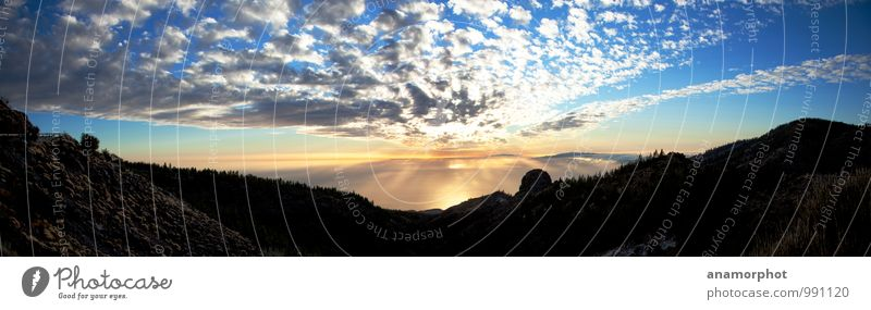 Sunset to La Gomera Vacation & Travel Landscape Earth Sky Clouds Horizon Sunrise Summer Beautiful weather Mountain Ocean Island Emotions Moody Enthusiasm Humble