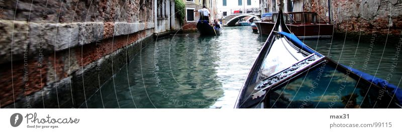 Water Watercraft Italy Panorama (Format) Venice Channel Gondola (Boat) Boating trip Right ahead Waterway Canal Grande