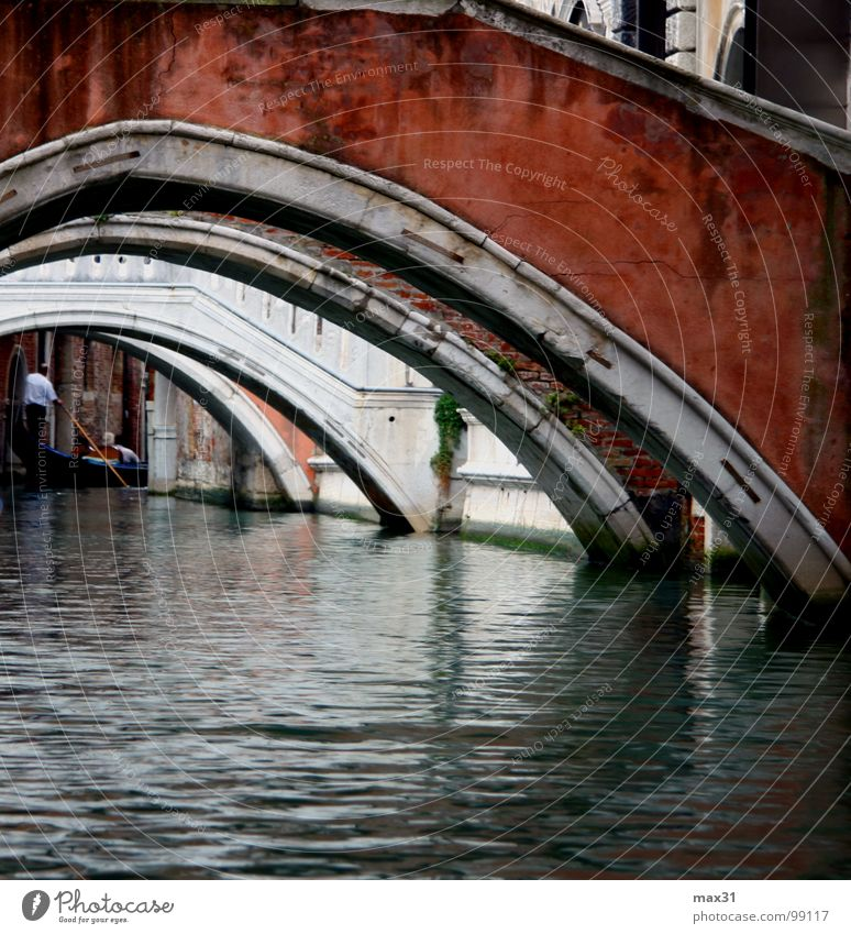 Architecture Watercraft Bridge Italy Traffic infrastructure Venice Arch Vista Channel Gondola (Boat) Boating trip City trip Waterway Gondolier Arched bridge