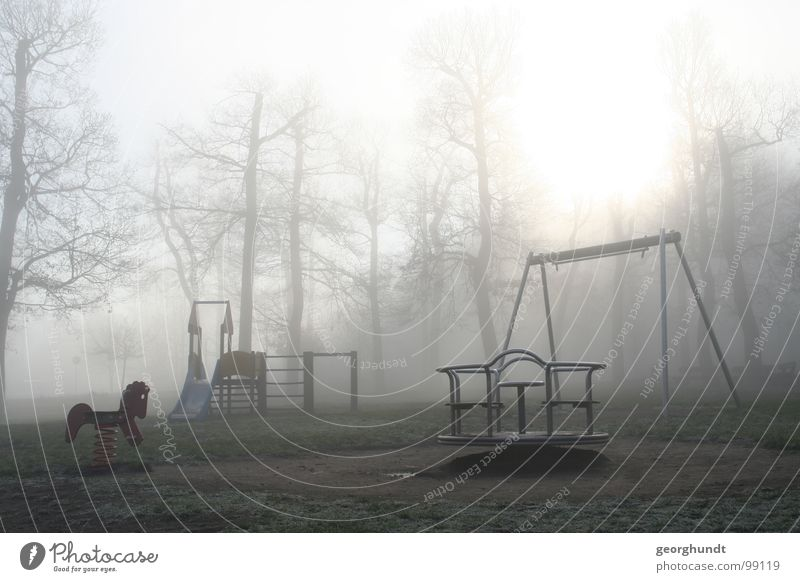the fog plays Fog Tree Forest Fairy tale Hexentanzplatz Witch White Gray Playground Playing Fairs & Carnivals Carousel December Hoar frost Romp Cold Grief Eerie