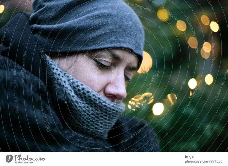 Human being Woman Christmas & Advent Loneliness Winter Cold Adults Face Life Sadness Emotions Style Moody Lifestyle Dream Leisure and hobbies
