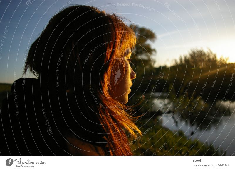Woman Girl Sky Landscape Gold River Peace To enjoy Visual spectacle Dreamily Treasure