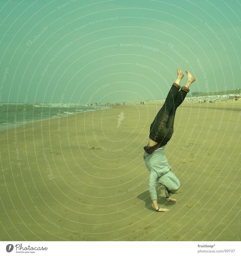 windswept Beach Handstand Calm Harmonious Playing North Sea Wind Nature