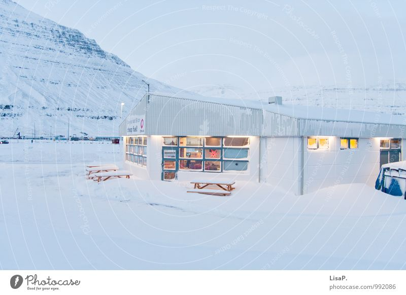 Blue White House (Residential Structure) Far-off places Winter Cold Mountain Snow Building Earth Idyll Gloomy Village Iceland Town Industrial plant