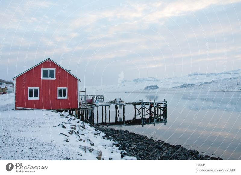 House by the fjord Contentment Relaxation Calm Fishing (Angle) Vacation & Travel Tourism Adventure Far-off places Freedom Ocean Winter Snow Winter vacation