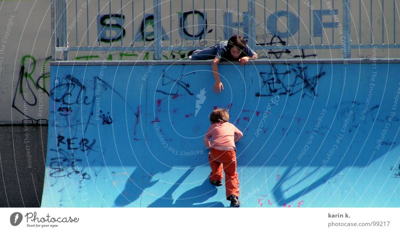 you can do it Child Boy (child) Playing Skate park Help Hand Playground Slide Graffiti Shadow