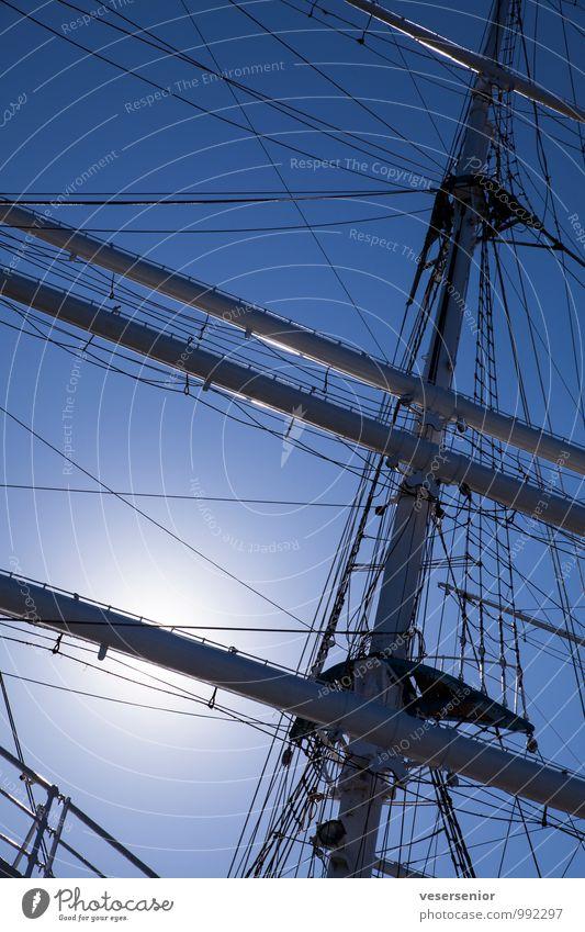 Gorch Fock. Navigation Sailing ship Mast Tall Maritime Blue Colour photo Exterior shot Deserted Day Silhouette Back-light