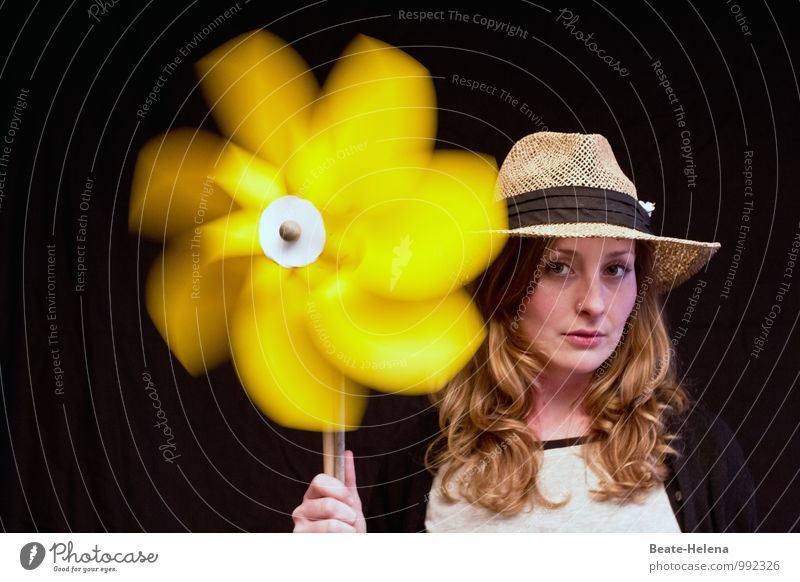 when it is absolutely hot ... Beautiful Healthy Well-being Vacation & Travel Summer Summer vacation Wind energy plant Young woman Youth (Young adults) Head