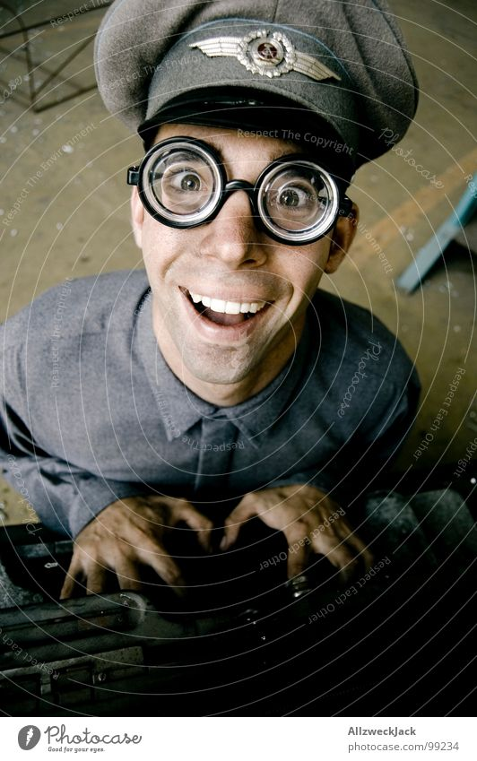 Man Joy Office Laughter Happiness Eyeglasses Friendliness Stupid GDR Soldier Freak Rod Doofus Fisheye Typewriter Clerk