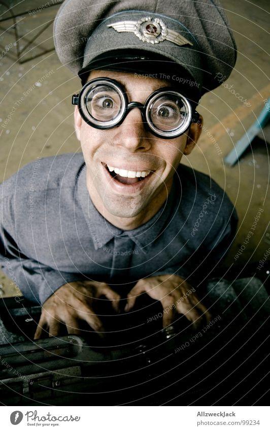 Man Joy Office Laughter Happiness Eyeglasses Friendliness Stupid GDR Soldier Freak Rod Doofus Fisheye Typewriter Clerk
