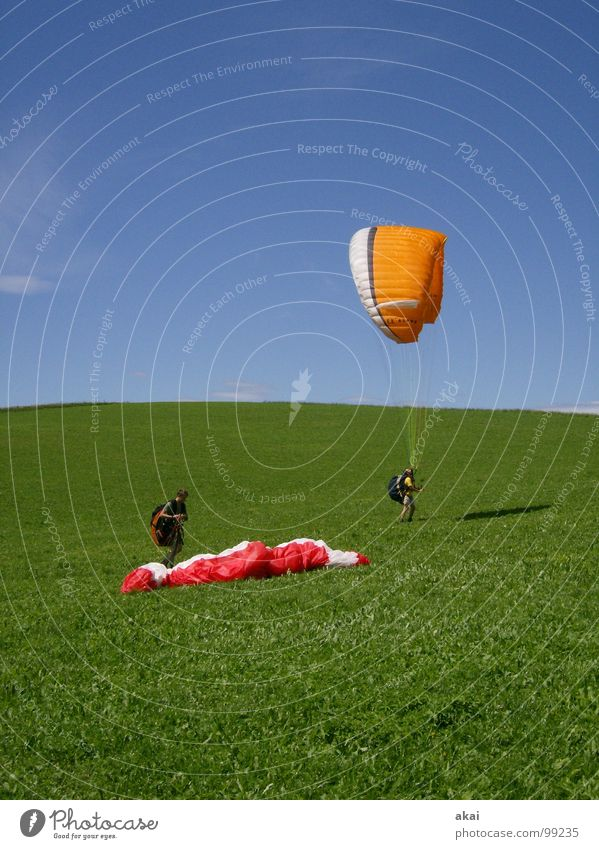 Joy Vacation & Travel Colour Sports Emotions Playing Orange Beginning Aviation Romance Planet Paragliding Departure Painted Sky blue Paraglider