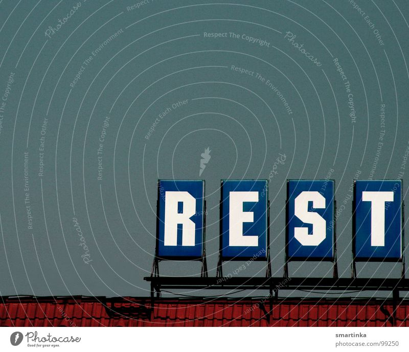 REST Remainder Letters (alphabet) Typography Roof Restaurant Lettering Obscure Characters left leftover Tall Level Above Signs and labeling Sky Write