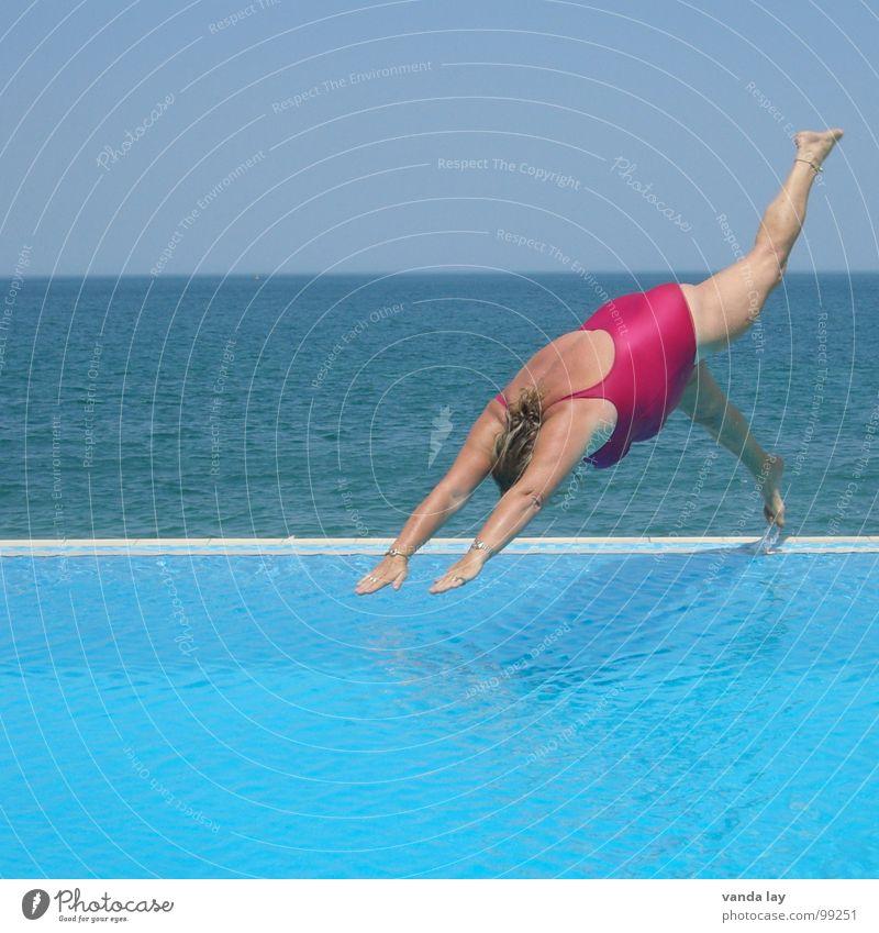 Woman Old Water Vacation & Travel Ocean Summer Joy Beach Sports Jump Coast Legs Pink Wet Swimming & Bathing Beginning