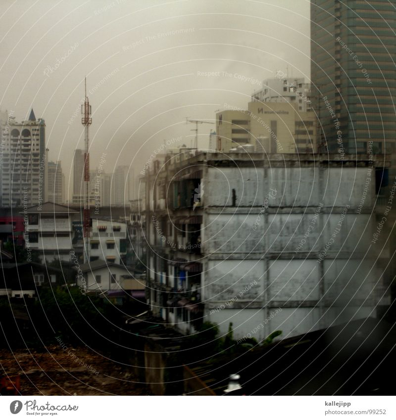 City House (Residential Structure) Clouds Window Rain Dirty Architecture Fog Wet High-rise Transport Thailand Tower Climate Living or residing Stress