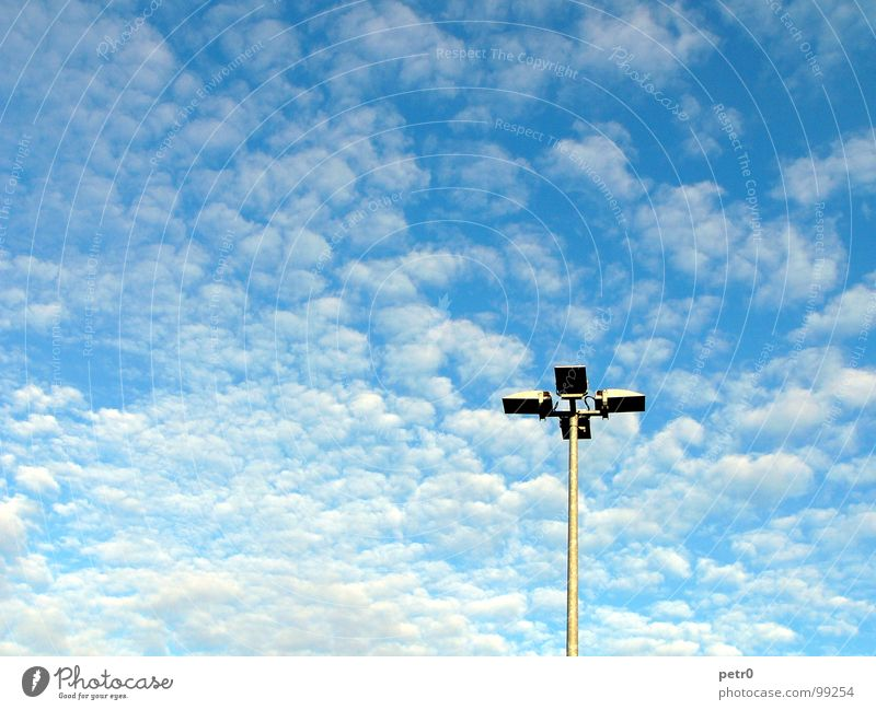 Blue sky mining Parking lot Light Sky Clouds Altocumulus floccus White Lamp Lantern Places Electricity pylon Sun Beautiful weather Lighting Free Freedom