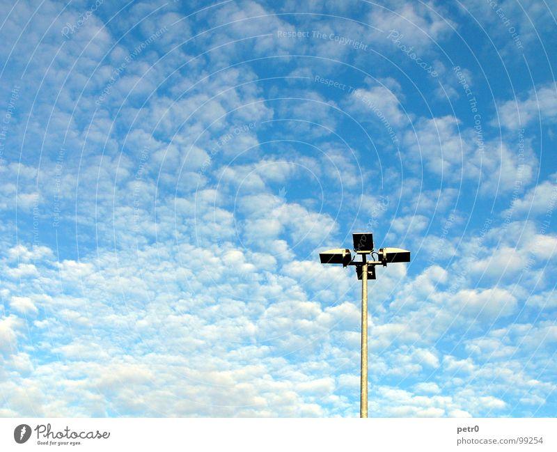 Sky White Sun Blue Clouds Lamp Freedom Lighting Free Places Lantern Beautiful weather Electricity pylon Parking lot Cumulus Altocumulus floccus
