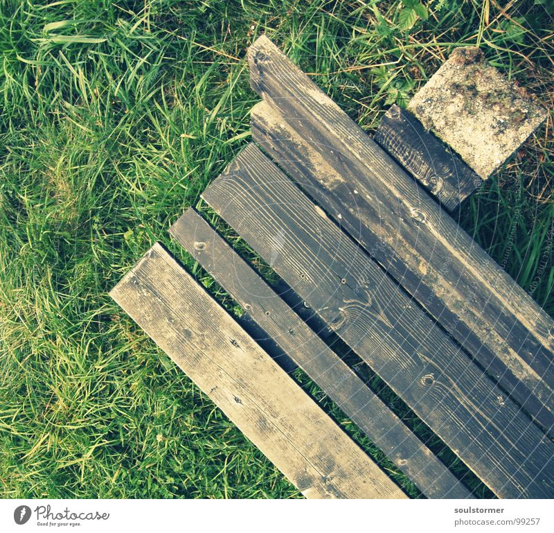 Green Vacation & Travel Calm Relaxation Meadow Grass Wood Stone Brown Hiking Large Sit Lawn Break Bench Vantage point