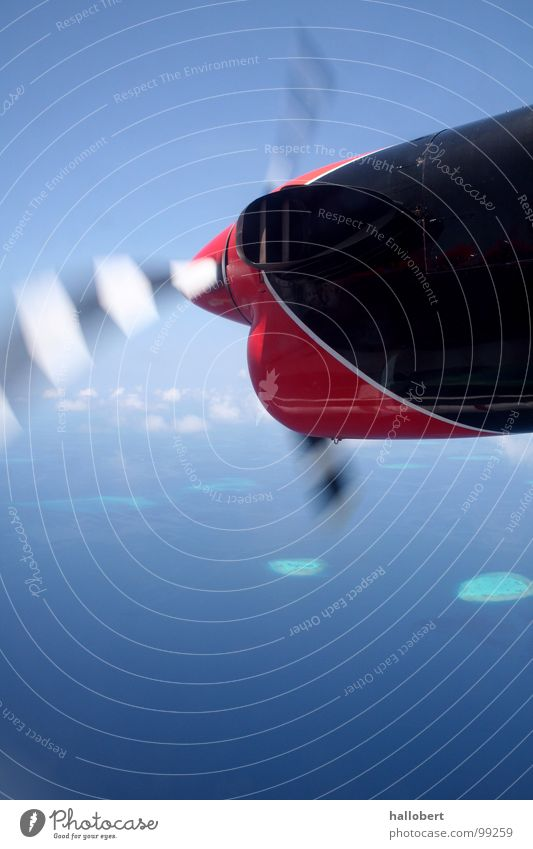 Ocean Beach Vacation & Travel Clouds Coast Airplane Flying Island Maldives Engines Propeller Dream island Above the clouds